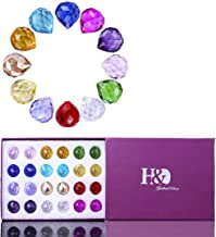 H&D 20mm Feng Shui Faceted Decorating Crystal Ball Prism Pendant Suncatcher Multi-Color Gifted Box,Set of 24