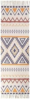 GNLK Tapis Ethnique,Tapis en Coton Motif De Triangle Jaune Rétro Tapis De Sol Imprimé Tissé Lavable avec Pompons Tapis Ant...