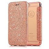 Sycode Flip Custodia per iPhone 7 Plus, Rosa Oro a Libro Back con Fronte in PU Pelle Bling Portafoglio Flip Cover per iPhone 8 Plus/7 Plus 5.5'-Rosa Oro