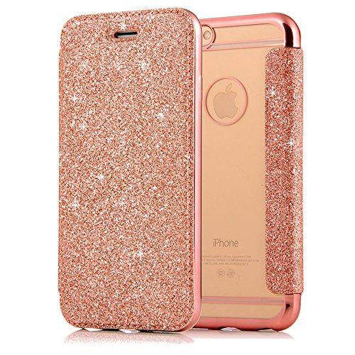 """Sycode Lusso Rosa Oro a Libro Trasparente Back Caso con Fronte in PU Pelle Bling Flip Custodia per iPhone 6S 4.7""""/6 4.7""""-Rosa Oro"""