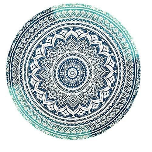 Amiispe India Toalla de Playa Redonda Mandala Hippie, Algodón Redondo Indio Grande, Esterilla Redonda de Yoga Boho Meditación de Tela, Mantel Colgador Manta Picnic Alfombra Hecha a Mano ⭐