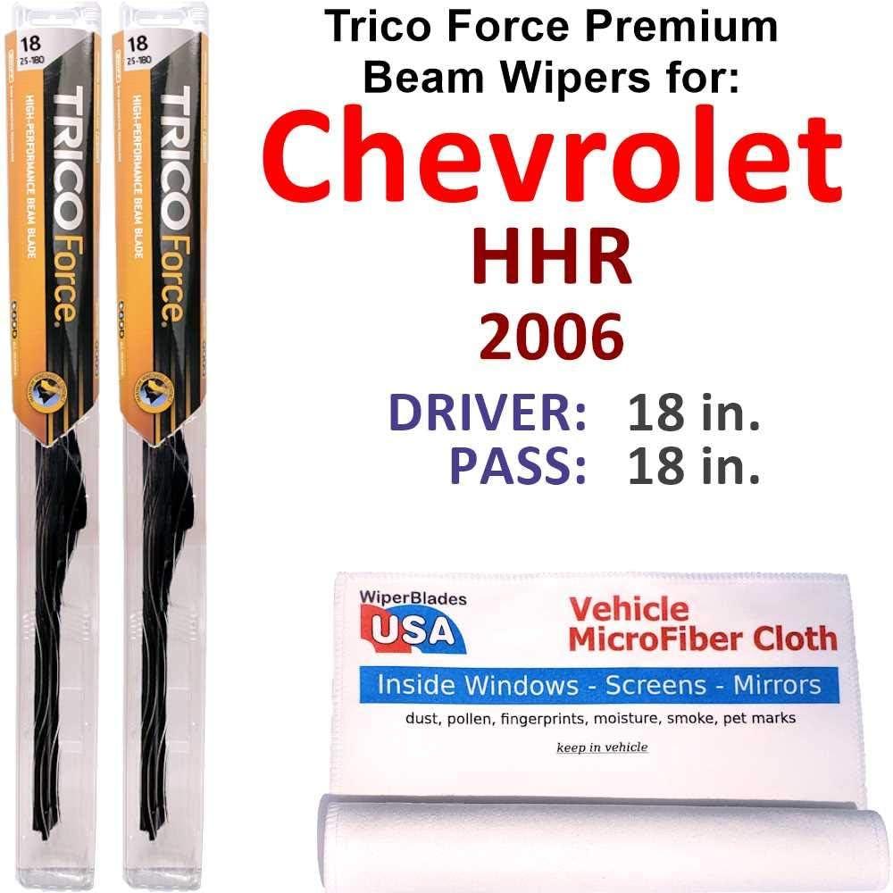 Premium Beam 使い勝手の良い Wiper Blades for 安全 2006 Set Chevrolet Trico Force HHR