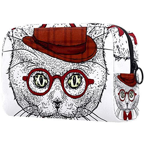 Neceser y joyería para mujer, 18,5 x 7,5 x 13 cm, gato con un sombrero, bolsa de maquillaje cosmética, bolsa de aseo portátil