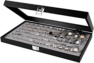 JackCubeDesign Jewelry Ring Display Organizer Storage Box Case Tray Holder with 72 Slot Ring Display(Black, Inside Gray Velvet, 14.7 x 8.3 x 1.97 inches)-:MK248C