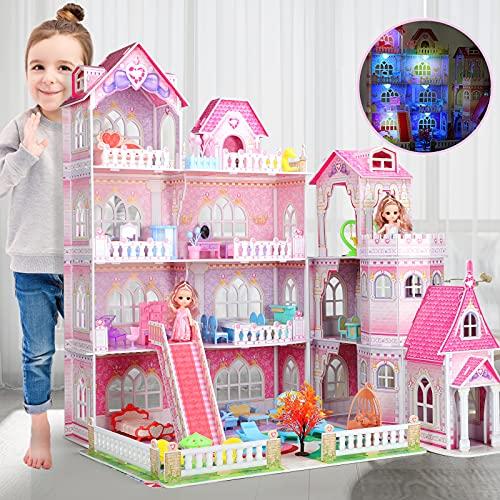 Casa de Muñecas Villa Enorme con Luces LED,Casa de Ensueño de 4 Pisos,84cm*75cm*59cm con 10 Habitaciones y 48 Piezas de Muebles y Accesorios para Muñecas,Juguete de Casa de Muñecas para Niñas