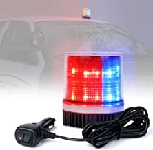 Xprite Red and Blue Rotating Revolving LED Beacon Strobe Light, with Magnetic Mount, 12LEDs Emergency Warning Caution Flashing Light for Snow Plow Truck UTV 12v Vehicle