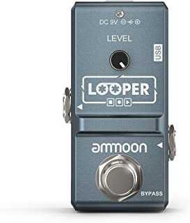 ammoon AP-09 Nano Loop Electric Guitar Effect Pedal Looper True Bypass Unlimited Overdubs 10 Minutes Recording with USB Cable (Gray)