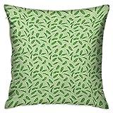Hoja de plátano Funda de almohada personalizada Cuadrada Verde vivo Hojas tropicales Botánica Ecología y paraíso Naturaleza Tema Verde Pistacho Verde Fundas de cojín Fundas de almohada para sofá Dormi