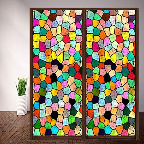 TANG Fensterfolie, Sichtschutz, Buntglas-Effekt, Fensteraufkleber, selbstklebend, statisches Glas, für Badezimmer, Wohnzimmer, Kleiderschrank, 60 x 200 cm, Stil 3–60 x 120 cm