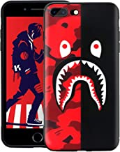 Takvet iPhone 8 Plus 7 Plus Case, Flexible Soft Case Street Fashion, Full Protection, 3D TPU Embossed Craft, Non Slip Slim, Cool Case Cover for 5.5 Inches iPhone 7P 8P Case (Red Black Shark)