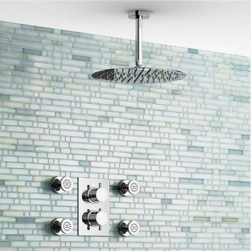 Gowe 30,5 cm plafondlamp, rond, mixer thermostaat douche set ultra dunne kop met chroom badkamer zijdouche