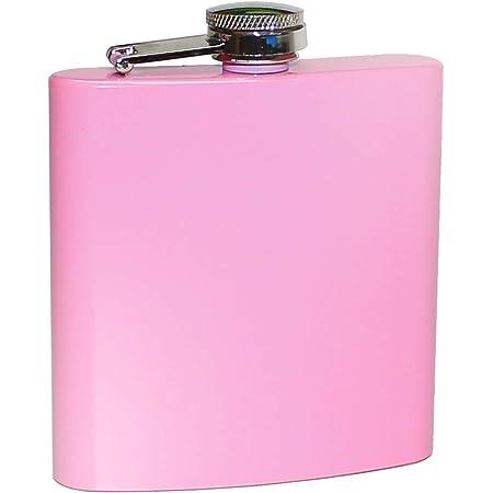 Pixelstudio Petaca rosa para mujer, aprox. 180 ml, botella rosa para alcohol, licor, ron