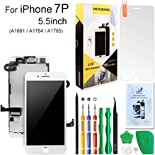 Screen Replacement for iPhone 7 Plus White,Hkhuibang 5.5'' Upgraded LCD Display 3D Touch Screen Digitizer Full Frame Assembly with OEM Front Camera Proximity Sensor Earpiece Speaker + Repair Tools Kit