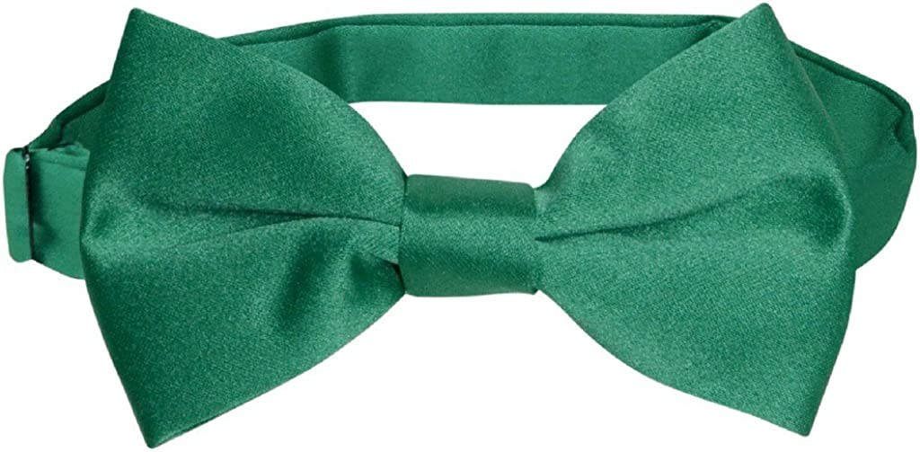 Vesuvio Napoli BOY'S BOWTIE Solid EMERALD GREEN Color Youth Bow Tie