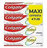 colgate total dentifricio con ingredienti antibatterici total original, per la protezione di denti, lingua, guance e gengive, 4 x 75 ml