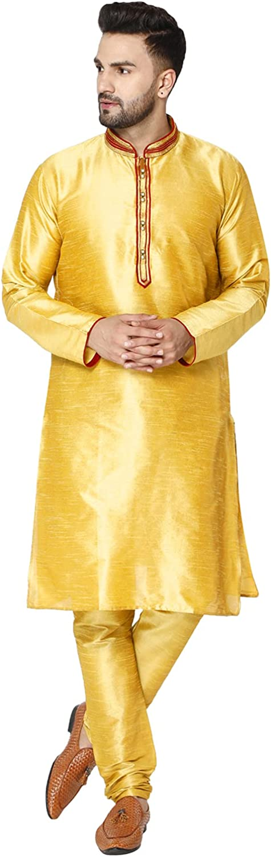 SKAVIJ Men's Tunic Art Silk Kurta Pajama Set Indian Ethnic Dress Suit