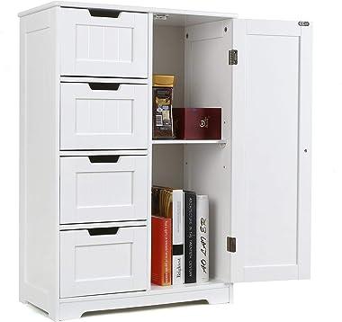 Homfa Armario Mueble Almacenaje Organizador para Baño Cocina Salón con 4 Cajones y 1 Puerta 56x30x83cm Blanco