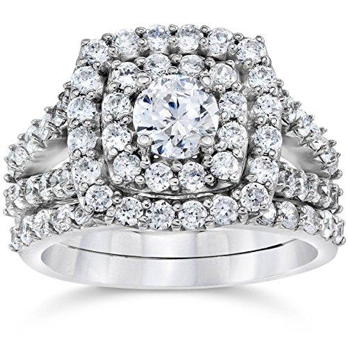 2 cttw Diamond Cushion Double Halo Engagement Wedding Ring Set 10k White Gold - Size 7