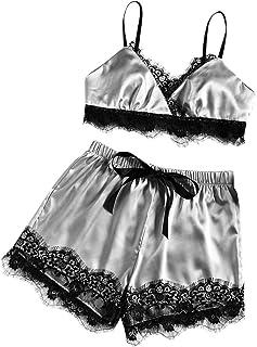 Frauen Sexy Dessous Spitze Bh Hosen Set Sling Shorts Weiche Pyjamas Set Halfter Kleid Komfort Pyjamas Slip Set (EU:44, Grau)
