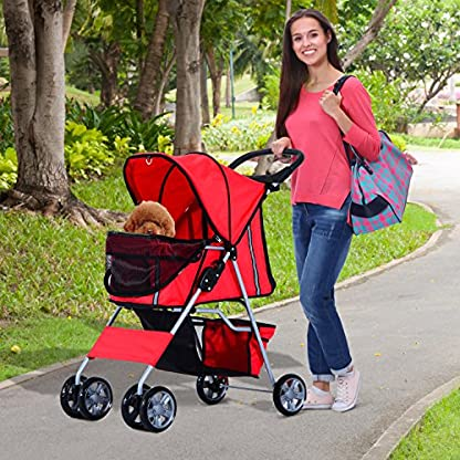 PawHut Pet Stroller Cat Dog Basket Zipper Entry Fold Cup Holder Carrier Cart Wheels Travel Red 4