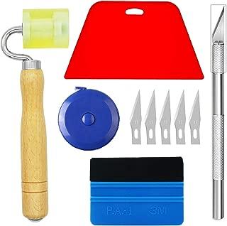 Ewrap Kit completo de herramientas de papel pintado con rasqueta roja suavizante, rodillo, cinta métrica ideal para coche vinilo Wrap, papel pintado, ventana película de instalación