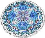 Mantel de Mesa Redonda Diseño Mandalas Modernos Mantel Mesa Camilla Absorbente de 150*150 (Azul Y Rosa)