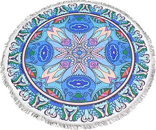 Toalla de Playa Redonda Mandala Resistente a la Playa y Arena de 150*150 (Azul Y Rosa)