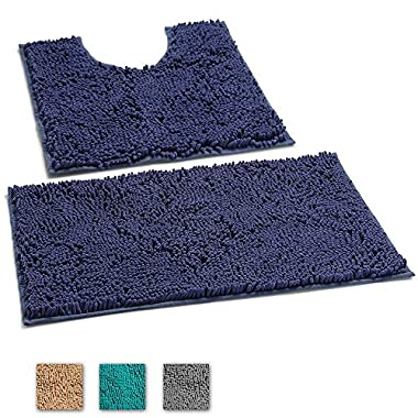 LuxUrux 2 Piece Bath Mat Set –Extra-Soft Plush Non-Slip Bath Shower Bathroom Rug + U-Shaped Toilet Mat. 1'' Microfiber Material, TPR Surface, Super Absorbent. Machine Wash & Dry (DARK BLUE/PURPLE)