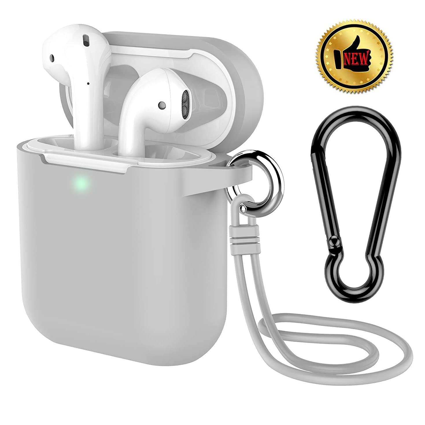 AirPods Case, Coffea Protective Silicone Cover Skin with Keychain/Stap for Apple AirPods 2 Wireless Charging Case [Front LED Visible] (Gray)