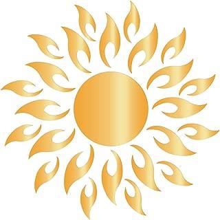 RUNGAO Hollow Sun Pattern DIY Acrylic Mirror Wall Sticker Removable Decal Vinyl Home Decor Golden