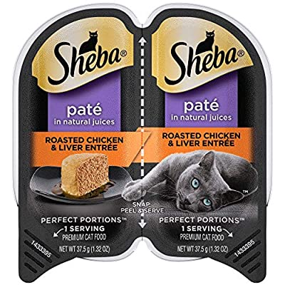 SHEBA PERFECT PORTIONS Soft Wet Cat Food Paté in Natural Juices Roasted Chicken & Liver Entrée, (24) 2.6 oz. Easy Peel Twin-Pack Trays