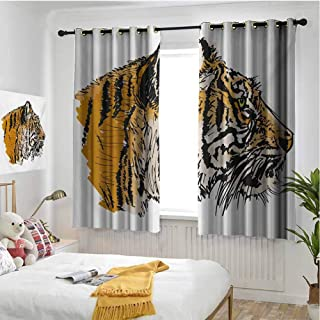 hengshu Tiger Wear-Resistant Color Curtain Sketch Drawing of Bengal Royal Animal Carnivore Large Cat with Vibrant Colors 2 Panel Sets W63 x L72 Inch Ligth Brown Black