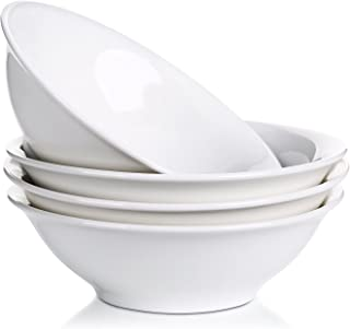 LIFVER 800ml Porcelana Cuencos de Cereales, Cuencos de Pasta, Cuencos de Postre, Blanco, Juego de 4