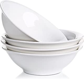 LIFVER 48 Ounce Porcelain Bowl Set, Cereal, Soup, Pasta Bowls, White, Set of 4, 9 Inch