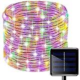 Oluote Luces de Cuerda Solar, Impermeable al Aire Libre 200 LED 66 FT / 20 M, Luces de hadas, Tubo de Luz de PVC para La Fiesta de Boda del Arbol de La Cerca del Jardín (Multicolor, 20M)