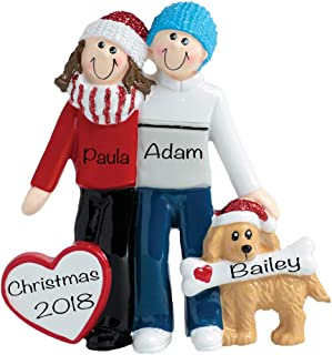 couples christmas ornaments with dog