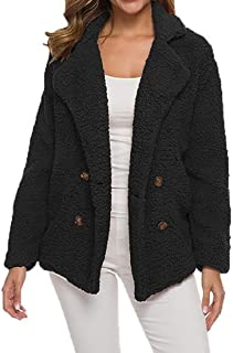 Fuzzy Loose Fit Double Breasted Lapel Coat Fall-Winter Jacket Outerwear 1 Large