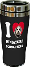 Tree-Free Greetings SG25089 I Heart Miniature Schnauzers Sip 'N Go Stainless Lined Travel Tumbler, 16-Ounce, Grey Close-Up
