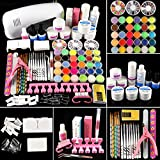 COSCELIA Kit para Uñas Acrilicas Completo Kit de Uñas Acrilicas con Lampara Uñas de Gel de Construccion para Uñas y Acrilicas Secador LED de 9W