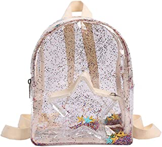 Shaky Stars Glitter Confetti Mini Clear Backpack- Sparkly Transparent See-Through Backpack for Teen Girls Women