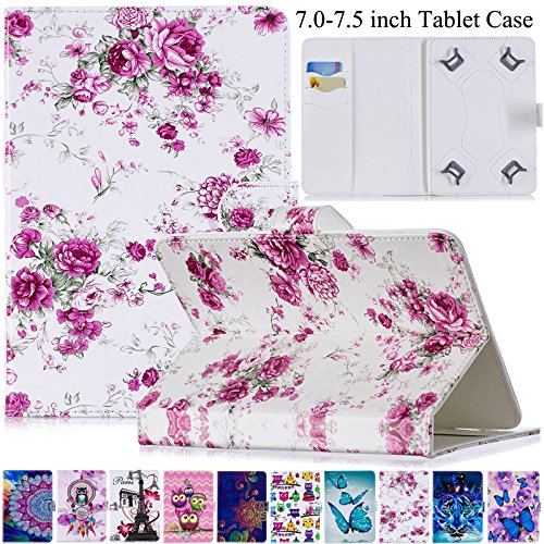 Universal Case for 7.0-7.5 inch Tablet, Artyond PU Leather Magnetic Protect Case with Card Slots Flip Stand Wallet Cover for All 7.0-7.5 inch Kindle, Android, Galaxy Tab, Windows Tablet (Flower)