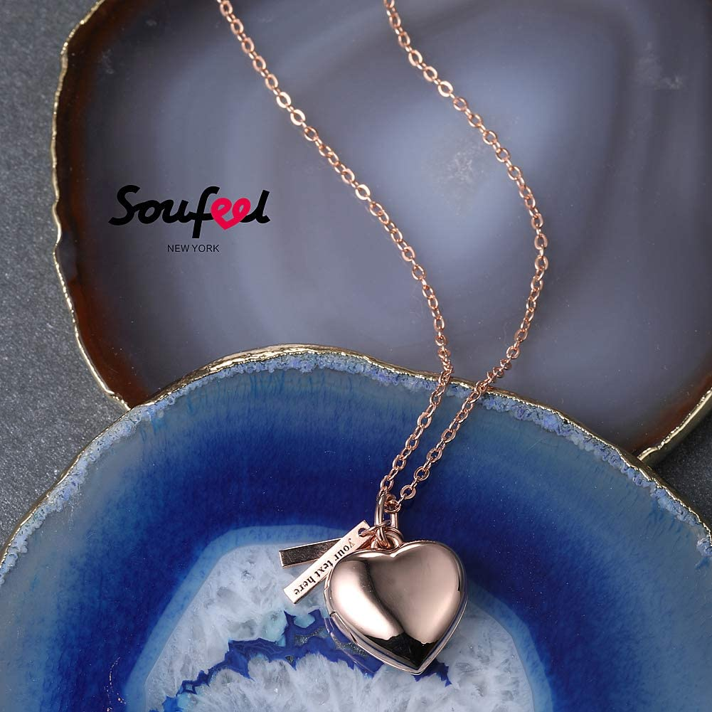 Him Boys 14K Gold for Women Her Daughter Kids Men Girls Mother Rose Gold SOUFEEL Heart Photo Locket Necklace with Two Engraved Bars Personalized Custom Gift Copper Plated Silver