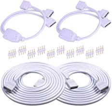 RGB LED Strip Extension Cable Connectors with 2X 2Way Y Splitter Connectors and 2X 2M RGB Extension Cable for 10mm 4pin 50...