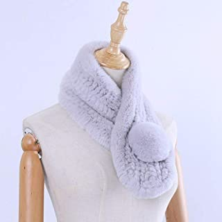 Rex Rabbit Fur Knitted Women's Scarf Wraps Girl's Fur Winter Scarves Pom Poms