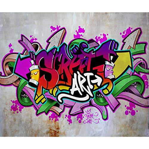 decomonkey Fototapete selbstklebend Graffiti 147x105 cm Selbstklebende Tapeten Wand Fototapeten Tapete Wandtapete klebend Klebefolie Street Art Jugendzimmer