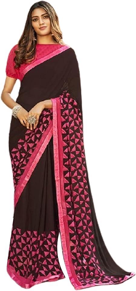 BLACK Indian Woman fancy Printed Georgette Sari Designer Summer Soft Saree Contrast Blouse 6221