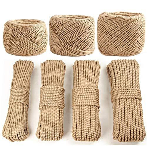 DHGTEP Cuerda de Sisal Árbol Gato DIY Poste para Rascar Juguete Gato Marco de Escalada Cuerda de Repuesto Patas de Escritorio Cuerda para Atar para Gato Afilar Garra (Color : 100 Meters, Size : 6mm)