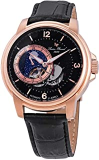 Lucien Piccard Men's 'Nebula' Stainless Steel and Leather Automatic Watch, Color:Black (Model: LP-15156-RG-01)