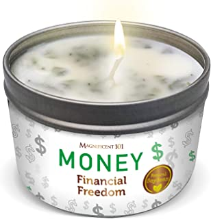 Magnificent101 Money Financial Freedom Aromatherapy Candle - Clove, Cinnamon, Citronella.Scented Natural Soybean Wax Tin C...