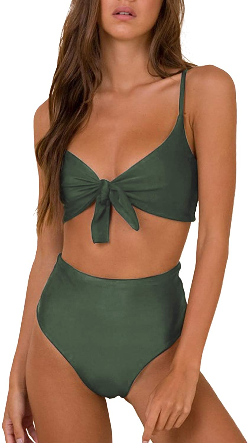 Blooming Jelly Womens High Waisted Bikini Set Two Piece Swimsuits Gingham Tie Knot Bathing Suit